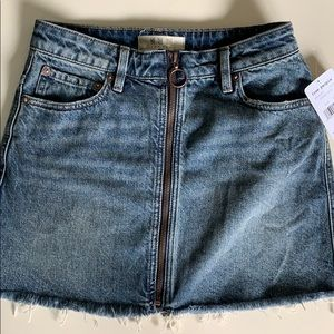 FREEPEOPLE zip-up copper blue denim skirt